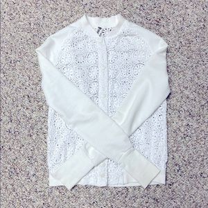 Titika Floral Lace Bomber Sweater